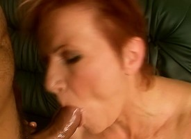 Esurient redhead cougar Magdolna worships increased by fucks a cock POV draught